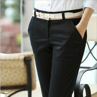 ladies trousers - Office Ladies Career Pants capris Elegant Long Black Cotton Casual Women s Pants For Business Work Slim Trousers with belt Plus size S XXXL