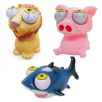 Wholesale pieces Funny Animal Vent Toys Shark Pig Lion Crazy Pop out Eyes Squeeze Toy Cute Gifts Soft Rubber