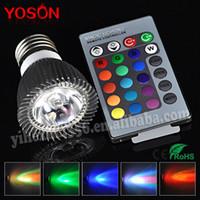 Revisiones Focos de colores-Venta al por mayor ajustable en RGB Bombilla LED E27 3W 85-265V Spotlight 1 PC / lot LED Lámparas del bulbo LED con control remoto múltiple color de iluminación