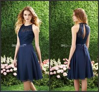 Wholesale Short Navy Blue Bridesmaid Dress Halter High Neck Cutout Back Lace Chiffon Bridesmaid Dresses Knee Length Cheap Beach Bridesmaids Dresses