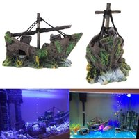 Wholesale Fish Tank Decoration Cave Decor Sailing Boat Shipwreck Aquarium Sunk Ship PTSP