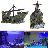 aquarium shipwreck - Fish Tank Decoration Cave Decor Sailing Boat Shipwreck Aquarium Sunk Ship PTSP