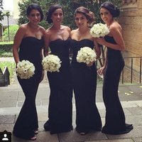 Wholesale Elegant Strapless Black Evening Gowns Formal Bridesmaid Dresses Mermaid Chiffon Ruched Long Floor Length Maid Of Honor Dresses