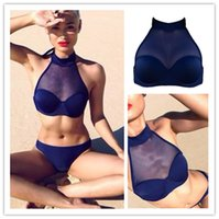 mesh ribbon - biquini new hot sale fashion swimwear women bathing suit sexy swimsuit sheer mesh bikini beach wear maillot