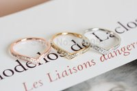 Cheap New Fashion Silver 18K Rose Gold Crystal Brasss Knuckle Chevron Ring Stackable Midi Rings Boho Chic Unique Couple Ring Men