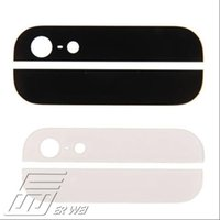 Wholesale 10 set High Quality Black Top and Bottom Back Rear Glass Panel Replacement For iPhone G M Adhesive