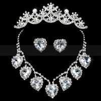 modern jewelry - 2015 Hot Sale Big Crystal Crown Necklace Earrings Bridal Jewelry Set Special Price Modern Bridal Accessories For Wedding Gowns