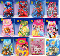 Wholesale Beast corps anna elsa bag Spider Man pig Sophia DORA AVENGERS big hero backpack cartoon pattern stretch Hand bag kids bags DROP shipping
