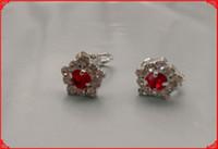 screw back earrings - Crystal Earrings Clip on Earrinngs With Swarovksi Element Silver Red Color Screw Back Elegance Earring