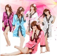 best silk lingerie - Sexy Women Pyjamas Ladies Silk Lace Lingerie Sleepwear Nightwear Night Dress colthes G string NX82 best quality