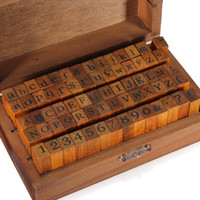 Wholesale 70pcs set Vintage DIY Multi Purpose Regular Script Number Lowercase Alphabet Letter Decoration Wood Rubber Stamps Set Wooden Box order lt no