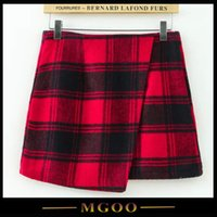 mini plaid skirt - MGOO New High Quality Red Plaid Flannel Skirts For Women Irregular Mini Zip Up Women Popular Skirts