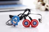 america headphones - 2015 D cartoon cute Captain America Headset mm In Ear Stereo Earphone Universal Headphones with Remote Mic for iPhone Galaxy S6 iPad