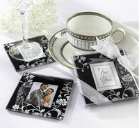 glass coasters - Square Photo Frame Glass Coaster cup mats pads gift box ribbon wedding favors baby shower wedding gift
