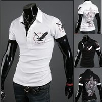 Wholesale Hot foreign trade men s t shirt printing men s new men s eagle tattoo thin section lapel polo shirt short sleeved t shirt