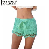 Wholesale New Arrival Summer Style Women Shorts Casual Lace Drawstring Hollow Out Shorts Solid Sweet Shorts For Women Plus Size S XL