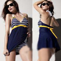 beach tankini - One piece Swimsuits Sailor Stripe Women Padded Beach Swimwear Swimsuit Dress Navy Blue Plus Size Bikini Tankini Attached Bottom