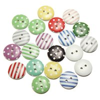 Wholesale Circular Dot Stripe Mix Wooden Buttons Craft Scrapbooking Sewing Button Accessories Cardmaking