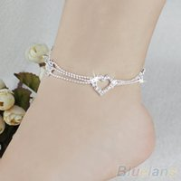 Wholesale New Charm Silver Plated Bead Anklets for Women Ankle Bracelet Chain Crystal Foot Jewelry PMT