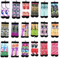 Wholesale 2015 d odd socks cotton skateboard socks printed gun socks style kids women men basketball stars hip hop socks pair E46L