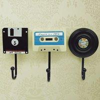 Wholesale coat hanger tape disk design resin decorative wall Creative European art hat key coat hook rails set three