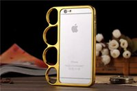 Wholesale Luxury Fist Finger Ring Metal Bumper Case for iPhone Inch iphone6 Hard Aluminuml Back Cover Brass Knuckle Gold Silver Metallic Color