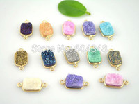 agate teardrop - 10Pcs Titanium Coating Gold Plated multicolor Druzy Agate Stone Connector Druzy Pendant Square shape Jewelry Findings