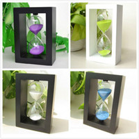Wholesale Frame wooden sand sandglass hourglass sand clock watch timer minutes home desk decor ornament xmas birthday gift