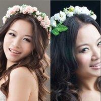 Cheap New Bohemian Style Bride Flower Headband Festival Wedding Floral Garland Hair Band Headwear Hair Accessories for Women
