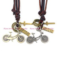 bicycle party decorations - 2015 Bicycle Accessories Metal Pendant Amulet Adjustable Leather Necklace Punk Cowboy Decorations Gift