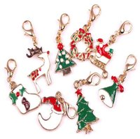 Wholesale Christmas Xmas Tree Bell Deer Socks Santas Dangle for Floating Glass Locket Chains and Charm Bracelets Necklace Clip On
