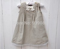 Wholesale French style EPK baby girl s spring elegant grey polka dot bow corduroy lace dress tank