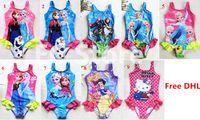 baby swimwear - 10Color Kids Princess Anna Elsa One Piece Swimsuit Cute Baby Kids Tutu Swimwear Girls Cartoon Bikini Children Beach Swimming Clothing By DHL