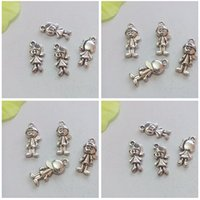 Charms handmade craft - 300Pcs Mixed Tibetan Silver Tone Boys Girls Charm Pendant Jewelry Craft DIY Handmade Floating Charm
