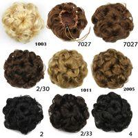 hair bun piece - Women Girl Fake Hair Bun Drawstring Flower Hair Pad Black Brown Blonde Hepburn Bun Hair Pieces Bun Hair Accessories colors