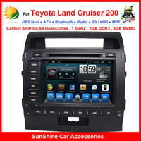 Wholesale Double din touch screen car stereo for Toyota Land Cruiser android dvd gps navigation TV G WIFI Bluetooth OBD car autoradio