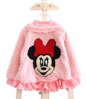 Cheap Minnie Mouse Embroidered Pullover For Girls Kids Winter Pink Beige Faxu Fur Tops Child Lace Collar Fabala Bottom Undershirts Clothes E1812