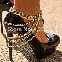 Wholesale 1lot pair single Elegant metal shoe accessories Unique Punk Anklet Row Wave Tassel Chain High Heel Shoe Foot Ankle Bracelet