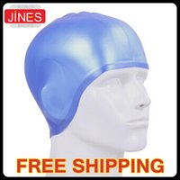 Wholesale Multi color Waterproof Silicone Adults Stretch Swimming Cap With Ear Cup Water sport safety tool