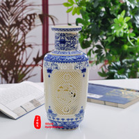 Wholesale China antique Blue and white Porcelain vase archaize chinese high grade tusk porcelain vase Hand carved paintings