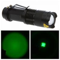 Wholesale UltraFire Q5 Green Light W Lm CREE LED Flashlight Mode Adjustable Focus Torch Aluminum Alloy Black AA Battery
