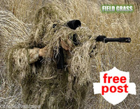 Wholesale Dry grass type ghillie suit camouflage tactical hunting suit sniper airsoft CS ghilly suit jacket pants free rifle cover
