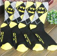 Wholesale New fashion male batman printing sports cotton socks