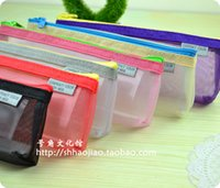 Cheap Wholesale-Free shipping 4pcs lot fashion transparent grid pencil case color block pencil case