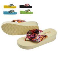 silk slippers women - 2016 New Fashion Floral Bohemia Silk Satin Summer Girls Woman Beach Slippers Trifle Wedges EVA Flip Flops Sandals Medium Heel Shoes X6105