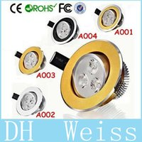 Wholesale 9W Dimmable Led Downlights Black Golden Silver Ring High Power X3W lm CRI gt Warm Natural Cool White Led Recessed Lamp V