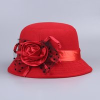 Wholesale New Arrival Women Summer Felt Bowler Solid Color Sun Hat ladies Tourism Beach Retro Flower Cap