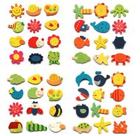 Wholesale 48pcs Cartoon Funny Baby Toy Wooden Fridge Magnet Refrigerator Magnets Gift Educational Pre shool wooden toys magnetic stickers set