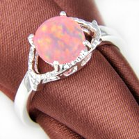 Cheap 2015 Real Rushed Cluster Rings Wedding Rings 2pcs lot Newest Round Pink Fire Opal Gemstone 925 Sterling Silver Ring Wedding Jewelry Gift