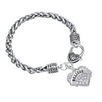 believe fitness - a Rhodium Plated Elegant Pendant Fitness Letter BELIEVE Dangle Heart Rhinestone Bracelets Jewelry Style